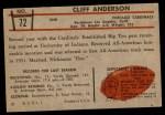 1953 Bowman #72  Cliff Anderson  Back Thumbnail