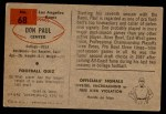 1954 Bowman #68  Don Paul  Back Thumbnail