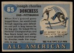 1955 Topps #65  Joe Donchess  Back Thumbnail