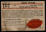 1953 Bowman #84  Hugh Taylor  Back Thumbnail
