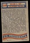 1956 Topps U.S. Presidents #29  William H. Taft  Back Thumbnail