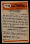 1955 Bowman #28  Jack Christiansen  Back Thumbnail