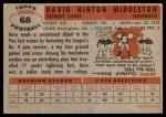 1956 Topps #68  Dave Middleton  Back Thumbnail