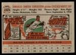 1956 Topps #265  Sandy Consuegra  Back Thumbnail