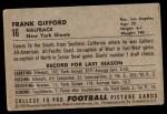 1952 Bowman Large #16  Frank Gifford  Back Thumbnail