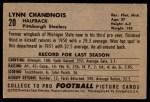 1952 Bowman Large #20  Lynn Chandnois  Back Thumbnail