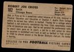 1952 Bowman Large #102  Robert Joe Cross  Back Thumbnail