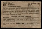 1952 Bowman Large #116  Russ Craft  Back Thumbnail