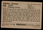 1952 Bowman Large #118  Darrell Hogan  Back Thumbnail