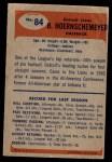 1955 Bowman #84  Bob Hoernschemeyer  Back Thumbnail