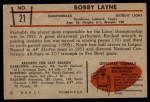 1953 Bowman #21  Bobby Layne  Back Thumbnail