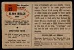 1954 Bowman #32  Elroy Hirsch  Back Thumbnail