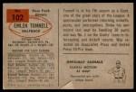 1954 Bowman #102  Emlen Tunnell  Back Thumbnail