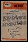 1955 Bowman #37  Lou Groza  Back Thumbnail