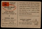 1954 Bowman #96  Bill Walsh  Back Thumbnail