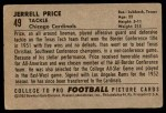 1952 Bowman Large #49  Jerrell Price  Back Thumbnail