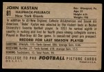 1952 Bowman Large #81  John Kastan  Back Thumbnail