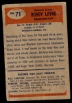 1955 Bowman #71  Bobby Layne  Back Thumbnail
