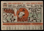 1956 Topps #333  Rube Walker  Back Thumbnail