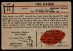 1953 Bowman #95  Lou Groza  Back Thumbnail