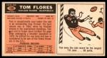 1965 Topps #139  Tom Flores  Back Thumbnail