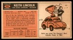 1965 Topps #165  Keith Lincoln  Back Thumbnail