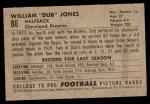 1952 Bowman Small #86  William Dub Jones  Back Thumbnail