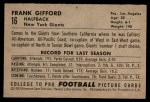 1952 Bowman Small #16  Frank Gifford  Back Thumbnail