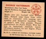 1950 Bowman #121  George Ratterman  Back Thumbnail