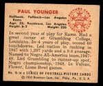 1950 Bowman #15  Tank Younger  Back Thumbnail