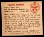 1950 Bowman #28  Clyde Turner  Back Thumbnail
