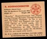 1950 Bowman #39  Bob Hoernschemeyer  Back Thumbnail