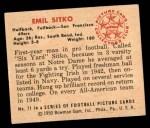 1950 Bowman #71  Emil Sitko  Back Thumbnail
