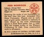 1950 Bowman #98  Fred Morrison  Back Thumbnail