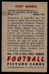 1951 Bowman #110  Tony Adamle  Back Thumbnail