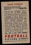 1951 Bowman #141  Norm Standlee  Back Thumbnail
