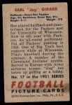 1951 Bowman #17  Earl Girard  Back Thumbnail