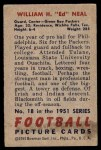1951 Bowman #18  William Neal  Back Thumbnail