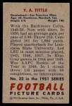 1951 Bowman #32  Y.A. Tittle  Back Thumbnail