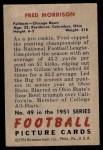 1951 Bowman #49  Fred Morrison  Back Thumbnail