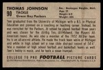 1952 Bowman Small #90  Thomas Johnson  Back Thumbnail
