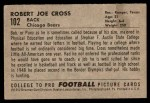 1952 Bowman Small #102  Bob Cross  Back Thumbnail