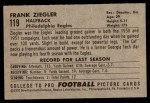 1952 Bowman Small #119  Frank Ziegler  Back Thumbnail