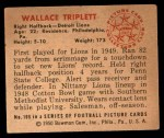 1950 Bowman #109  Wallace Triplett  Back Thumbnail