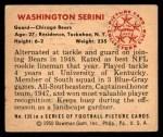 1950 Bowman #135  Washington Serini  Back Thumbnail
