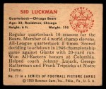 1950 Bowman #27  Sid Luckman  Back Thumbnail