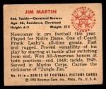 1950 Bowman #44  Jim Martin  Back Thumbnail
