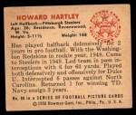 1950 Bowman #88  Howard Hartley  Back Thumbnail