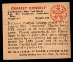1950 Bowman #103  Charley Conerly  Back Thumbnail
