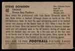 1952 Bowman Small #40  Steve Dowden  Back Thumbnail